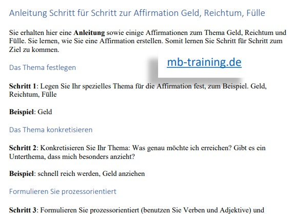 Anleitung für Affirmationen und Geld downloaden